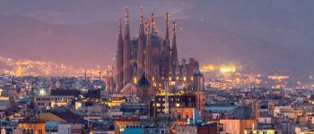 barcelona skyline sagrada familia